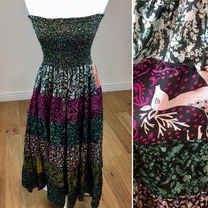 Vintage 100% Silk Strapless BOHO Dress